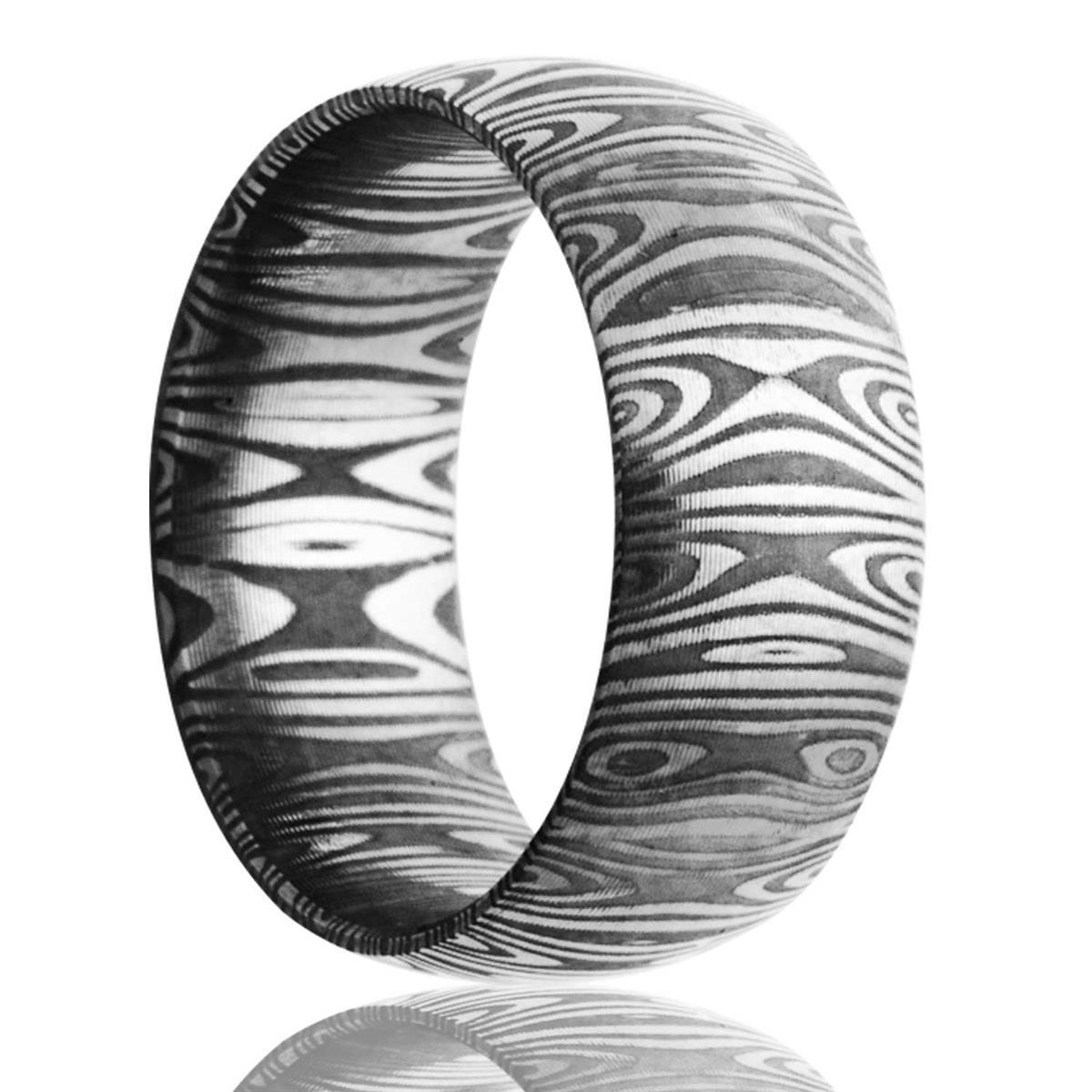 alternative metal, damascus steel, men's wedding ring, kluh jewelers